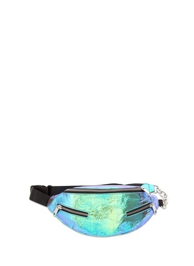 Mavi Hologram Bel Çantası Mor
